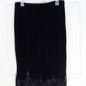 Pencil skirt black by Lush sz L with lace edge